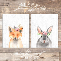 Woodland Animals Nursery Wall Art Prints (Set of 6) - Unframed - 8x10s