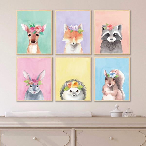 L & O Goods Woodland Animals Nursery Décor | Baby Boy & Girl Wall Art Watercolor Prints | Set of 6 Posters for Bedroom Decoration | Cute Kids Posters | 8 x 10's