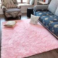 Fluffy Soft Kids Room Rug Baby Nursery Decor, Anti-Skid Large Fuzzy Shag Fur Area Rugs, Modern Indoor Home Living Room Floor Carpet for Children Boys Girls Bedroom Rugs, Pink 4 x 6 Feet