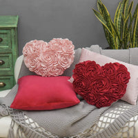 JWH 3D Rose Flower Handmade Accent Pillow Valentine's Day Cushion Decorative Heart Shape Pillow Case Home Couch Bed Living Guest Room Chair Car Decor Wife Girlfriend Gift 13 x 16 Inch Pink