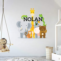 "Personalized Name Jungle Animals Baby Boy Nursery Wall Decals(MM104) - Bright Cute and Unique Removable Peel & Stick Stickers for Bedroom and Home - Mural Children Wall Decal 32"" x 31"""