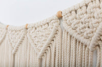 "Macrame Woven Wall Hanging Curtain Fringe Garland Banner - BOHO Shabby Chic Bohemian Wall Decor - Apartment Dorm Living Room Bedroom Baby Nursery Art - Party Backdrop Decoration, 15""W x35""L, 7 ""flags"""