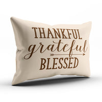KEIBIKE Personalized Thankful Grateful Blessed Words Rectangle Decorative Boudoir Pillowcases Decor Zippered Throw Pillow Covers Cases 12x16 Inches One Sided