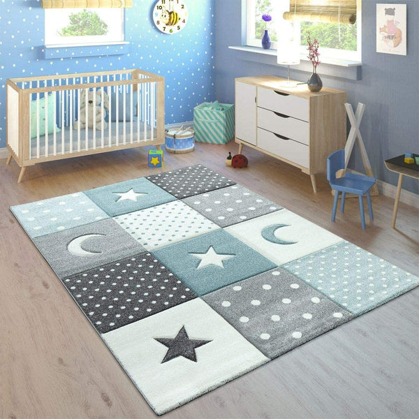 Children's Rug Pastel Colours Checked Dots Hearts Stars White Grey Blue, Size:160x230 cm