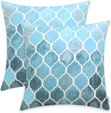 CaliTime Pack of 2 Cozy Throw Pillow Cases Covers for Couch Bed Sofa Farmhouse Manual Hand Painted Colorful Geometric Trellis Chain Print 18 X 18 Inches Main Sky Blue & Smoke Blue