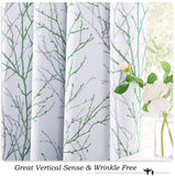 "NICETOWN Green/Grey Branch Twist Art Abstract Print Curtains, Rustic Silver Grommet Half-Blackout Window Treatment Thermal Insulated Covering for Flat/Apartment, 52"" Wide by 84"" Long, Set of 2"