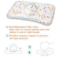 Acksonse Baby Pillow for Sleeping Memory Foam Unisex Infant Pillow Baby Head Shaping Prevent Flat Head Syndrome 100% Organic Cotton Cover Newborn Gift for Baby Girls Boys with Baby Bib