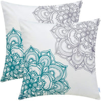 CaliTime Pack of 2 Cozy Fleece Throw Pillow Cases Covers for Couch Bed Sofa Vintage Dahlia Floral Both Sides 18 X 18 Inches Grey Teal