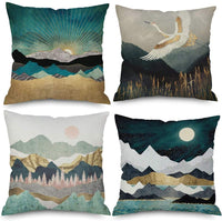 QINU KEONU Elephant Deer Mountains Cotton Linen Throw Pillow Case Cushion Cover Home Sofa Decorative (7)
