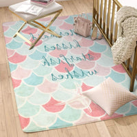 LIVEBOX Mermaid Area Rugs,Faux Wool Pink Girl Mat 2' x 3' Non-Slip Childrens Floor Carpet Machine Washable Throw Rug for Teen Kitchen Living Room Bedroom Bathroom Baby Nursery Room Decor