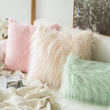 MIULEE Pack of 2 Decorative New Luxury Series Style Pink Faux Fur Throw Pillow Case Cushion Cover for Sofa Bedroom Car 20 x 20 Inch 50 x 50 cm