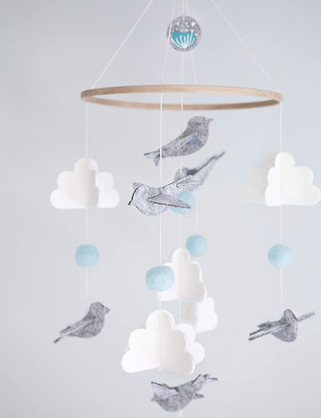 Baby Crib Mobile for Boys and Girls - Blue Baby Shower Gift Set Nursery Decor Infant Bedroom Hanging Decoration Toy Newborn Registry (Modern Unisex Wool Woodland Bird Cloud)