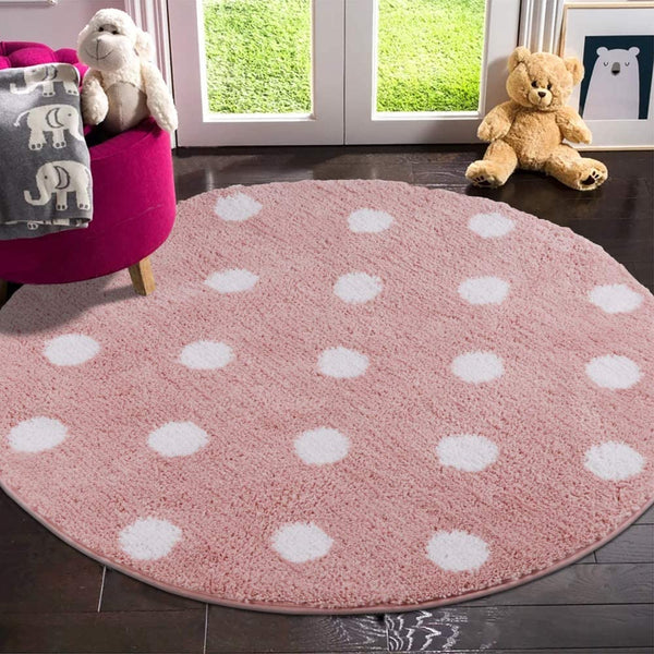 LIVEBOX Polka Dots Round Area Rugs, 3ft Diameter Kids Play Mat Soft Plush Baby Crawling Mat Non-Slip Throw Carpet for Teen Girl Living Room Bedroom Playroom Nursery Decor Best Shower Gift