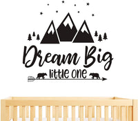 Dream Big Little One Quote Wall Decals, Nursery Wall Decals, Quote Decal, Woodland Wall Stickers, Vinyl Wall Decals for Children Baby Kids Boys Bedroom Y07 (57x51cm, Black)