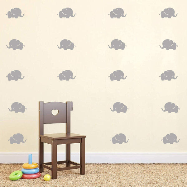 K-DECAL Baby Elephant Wall Decals/Nursery Wall Stickers/Baby Room Decor/Animal Vinyls, Removable Vinyl Wall Stickers for Baby Kids Boy Girl Bedroom Nursery Decor(Gray)