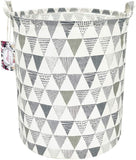 "TIBAOLOVER 19.7"" Large Sized Waterproof Foldable Canvas Laundry Hamper Bucket with Handles for Storage Bin,Kids Room,Home Organizer,Nursery Storage,Baby Hamper (Grey Banana Leaf)"