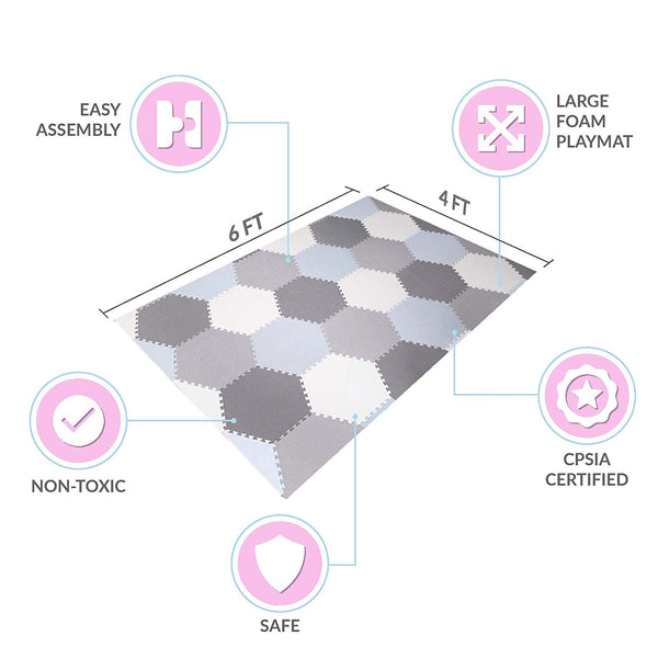 Baby Brielle Interlocking Hexagon Floor Foam Tile Activity Mat for Tummy Time, Crawling, and Playing Ultra Thickness Playmat for Infants and Toddlers for Nursery Room in Grey/White