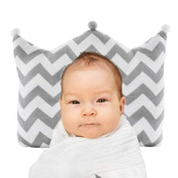 Rockit Parents Head Shaping Pillow for Infants Newborn Baby Pillow with Neck Support – Prevents Flat Head Syndrome – 3D Air Mesh and Cotton – Gray and White Crown Shaped – Almohadas para Bebes