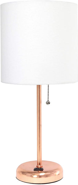 Limelights LT2024-LPK Stick Lamp with Charging Outlet and Fabric Shade, Light Pink