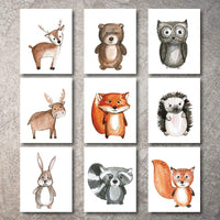 Woodland Nursery Decor 9 Wall Art Prints UNFRAMED - Forest Woodlands Animal Prints Help even Nursery bedding. Plush Animals Adventure Critters Creatures help Woodland Nursery Decorations Sets (5x7)