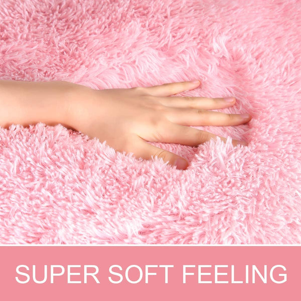 JOYFEEL Soft Bedroom Rugs Girls Pink - 5'x8' Large Shaggy Fur Floor Area Rug Fluffy Plush Indoor Home Living Room Carpets, Non-slip Baby Nursery Princess Room Decor Rectangle Accent Rugs