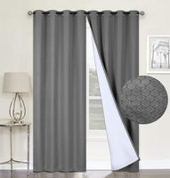 "100% Blackout Curtains,Grey Double Layer Lined,Heat and Full Light Blocking Drapes with White Liner for Nursery, 96 inches Drop Thermal Insulated Draperies (Charcoal Grey, 52"" x 96"")"