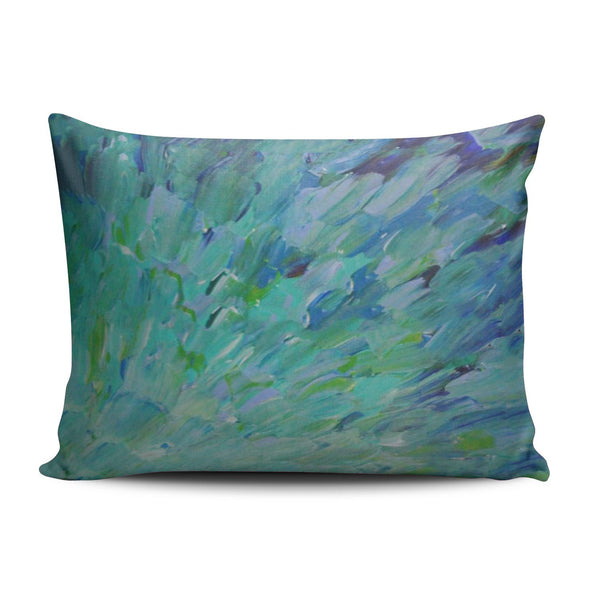 SALLEING Custom Pretty Cute Blue Teal Ocean Theme Peacock Feathers Mermaid Fins Waves Decorative Pillowcase Pillowslip Throw Pillow Case Cover Zippered One Side Printed 12x16 Inches