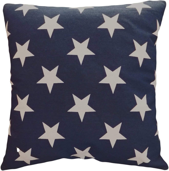 Leaveland Printed White Navy Star 18x18 Inch Cotton Linen Square Throw Pillow Case Decorative Durable Cushion Slipcover Home Decor Sofa Standard Size Accent Pillowcase Encasement