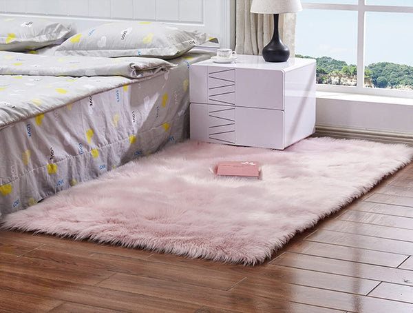 Faux Fur Sheepskin Area Rug,Solid Shaggy Area Rugs for Living Bedroom Floor - Light Pink 2ftx3ft