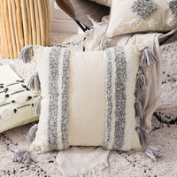 MIULEE Decorative Throw Pillow Cover Tribal Boho Woven Tufted Pillowcase with Tassels Super Soft Square Pillow Sham Pillowcase Cushion Case for Sofa Couch Bedroom Car Living Room 18X18 Inch Grey