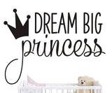 Dream Big Princess with Crown Wall Decal Vinyl Sticker for Kids Baby Girls Bedroom Decoration Nursery Home Decor Mural Design YMX18 (Gold)