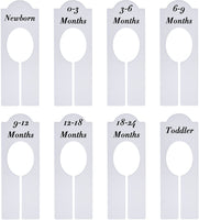 WILLBOND Closet Dividers Baby Nursery Clothing Rack Size Dividers Boy Girl Closet Organizer Dividers with Sizes Newborn to 18-24 Months (8 Pieces)