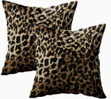 ROOLAYS Decorative Throw Square Pillow Case Cover 18X18Inch,Cotton Cushion Covers Abstract Leopard Hair Texture Background Both Sides Printing Invisible Zipper Home Sofa Decor Sets 2 PCS Pillowcase