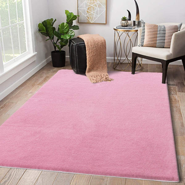 LIVEBOX Faux Rabbit Fur Area Rug, Luxury Kids Play Mat 3' x 5' Modern Fluffy Throw Shag Rugs Plush Childrens Carpet for Bedroom Living Room Nursery Decor Best Shower Gift (Pink)