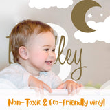 "Custom Name & Initial Moon Clouds Stars - Baby Boy - Nursery Wall Decal For Baby Room Decorations - Mural Wall Decal Sticker For Home Children's Bedroom (MM109) (Wide 32"" x 24"" Height)"