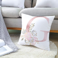 Tillskuch Throw Pillow Covers 26 Decorative English Letters Floral Pillowcases Velvet Soft Cushion Cover White Pillow Protectors for Sofa Bedding Car and Home Decor (18x18 / 45x45cm, Letter J)