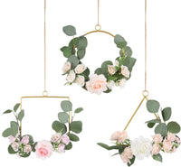 Pauwer Floral Hoop Wreath Set of 3 Artificial Flower Hanging Wall Hoop Garland Wedding Nursery Wall Decor (Clematis with Tea Rose)