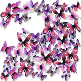Ewong 3D Butterfly Wall Stickers Arts Decor Crafts for Kids Girls, Home Decorations for Living Room Baby Bedroom Bathroom Nursery Classroom Office Decals 60PCS (60 Pink)