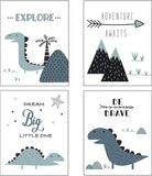 Nursery Decor and Baby Room Decor for Baby Nursery - Dinosaur and Mountain Themed Woodland Nursery Decor - Baby Boy Nursery Wall Decor - 4 Posters - Blue White - Unframed (Blue)