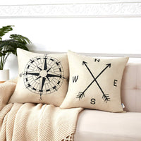 Anickal Arrow Compass Decorative Throw Pillow Covers Cotton Linen Farmouse Cushion Cover 18x18 Inches for Home Couch Sofa Bench Decor