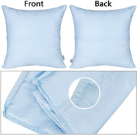 4-Pack Cotton Comfortable Solid Decorative Throw Pillow Case Square Cushion Cover Pillowcase(Cover Only,No Insert) (18x18 inch/ 45x45cm,Light Blue)