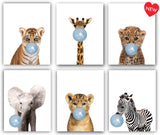 Designs by Maria Inc. Safari Pink Bubblegum Baby Animals Nursery Decor Art - Set of 6 (UNFRAMED) Wall Prints 8x10 (Pink)