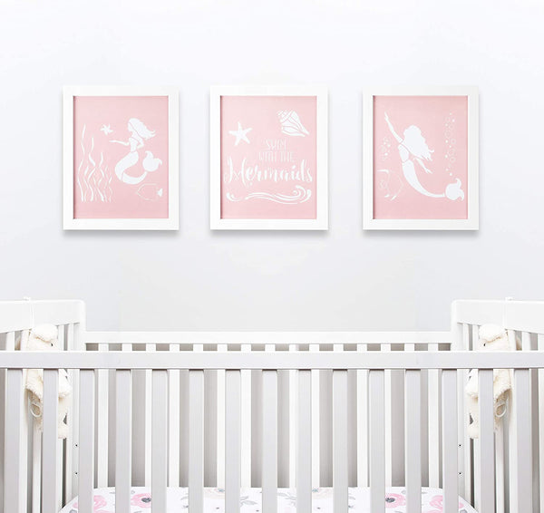Modern Framed Nursery Wall Decor by Sweet SLSy Set of 3 Mermaids Prints. Cute Mermaids Shells Baby Art Kids Room Wall Baby Room Decor Inspirational Pink