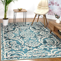 Antep Rugs Kashan King Collection Trellis Polypropylene Indoor Area Rug (Grey/Cream, 5' x 7')