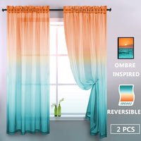 Lilac Turquoise Curtain 96 Inch for Bedroom Girls Room Decor 2 Panel Ombre Cute Sheer Drape Lovely Mermaid Backdrop Curtains for Party Birthday Decoration Supplies Baby Shower Accessories Green Purple