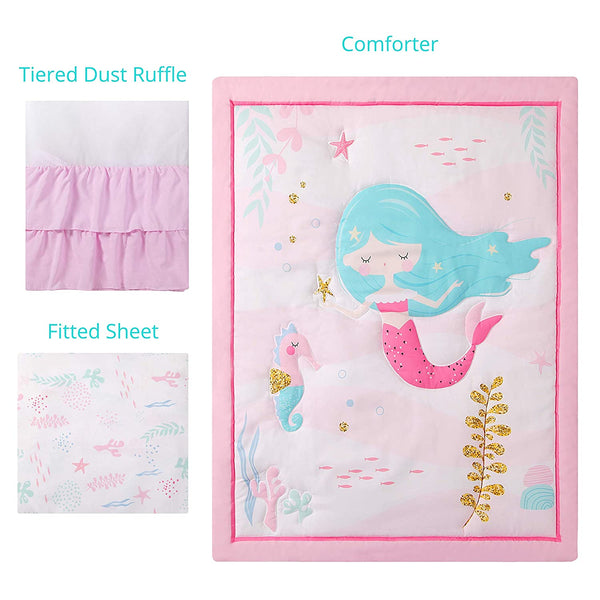 La Premura Mermaid Baby Nursery Crib Bedding Sets for Girls – Happy Mermaid & Seahorse 3 Piece Standard Size Ocean Theme Crib Set in Pink, White & Green
