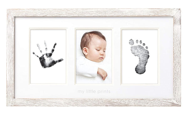 Pearhead Babyprints Wall Frame, Rustic Nursery Decor, A Perfect Baby Shower Gift Idea for Expecting Parents, Distressed