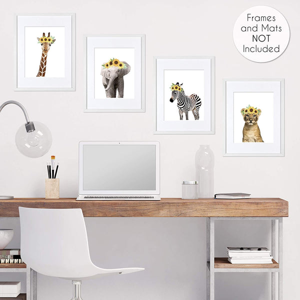 Sweet Jojo Designs Sunflower Safari Jungle Animal Wall Art Prints Room Decor for Baby, Nursery, and Kids - Set of 4 - Elephant Giraffe Lion Zebra Yellow Boho Watercolor Floral Flower