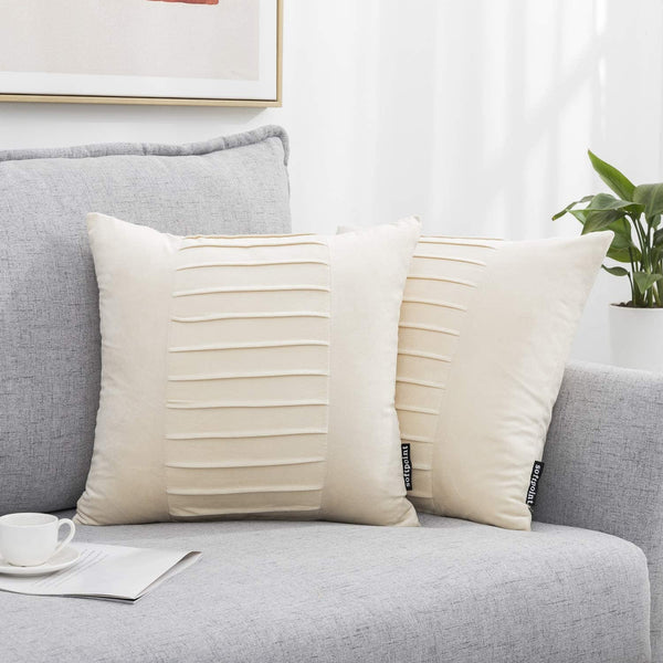 Decorative Throw Pillow Covers with Fold Soft Velvet Solid Square Cushion Covers 18 X 18 for Bedroom, Car, Office, Couch, Pack of 2 (Cream, 18 x 18) …