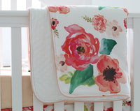 3 pcs Set Boho Floral Ruffle Baby Minky Blanket, Peach Floral Nursery Crib Skirt Set Baby Girl Crib Bedding (Coral)